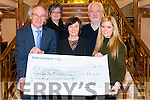 Grannie O'Sullivan (committee member of CIK) and Michael Gleeson presenting a cheque for €33695 to Christmas in Killarney Charity Partners Oncology Unit in Kerry General Hospital represented by Abbey Lynch and Kerry Cancer Support Group- Kerry Cork Link Bus represented by Brenda Dylan (Manager) and Jay Galvin (chairman) in the Plaza Hotel, Killarney last Thursday night.