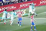 FC Barcelona's Rafinha Alcantara, Luis Suarez, Sergi Roberto and Leo Messi celebrate goal in presence of Atletico de Madrid's Diego Godin and Filipe Luis dejected during La Liga match. February 26,2017. (ALTERPHOTOS/Acero)