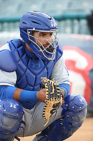Julian Leon (43) of the Rancho Cucamonga Quakes catches in the bullpen before a game against the Lancaster JetHawks at The Hanger on April 19, 2016 in Lancaster, California. Rancho Cucamonga defeated Lancaster, 10-6. (Larry Goren/Four Seam Images)