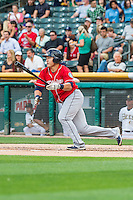 Ji-Man Choi (38) of the Tacoma Rainiers at bat against the Salt Lake Bees in Pacific Coast League action at Smith's Ballpark on September 1, 2015 in Salt Lake City, Utah. The Bees defeated the Rainiers 10-1.  (Stephen Smith/Four Seam Images)