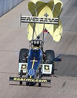 Feb 28, 2016; Chandler, AZ, USA; NHRA top fuel driver Tony Schumacher during the Carquest Nationals at Wild Horse Pass Motorsports Park. Mandatory Credit: Mark J. Rebilas-