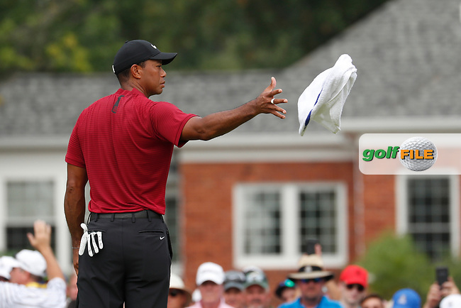 Tiger Woods (USA) catches a towel from his caddie on the 5th hole during the final round of the 100th PGA Championship at Bellerive Country Club, St. Louis, Missouri, USA. 8/12/2018.<br /> Picture: Golffile.ie | Brian Spurlock<br /> <br /> All photo usage must carry mandatory copyright credit (© Golffile | Brian Spurlock)