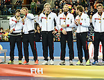 Leipzig, Germany, February 08: Team of Germany receives the bronze medal during the FIH Indoor Hockey Men World Cup on February 8, 2015 at the Arena Leipzig in Leipzig, Germany. (Photo by Dirk Markgraf / www.265-images.com) *** Local caption ***