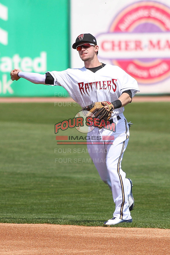 Milwaukee Brewers second baseman Scooter Gennett (20) throws to first during a rehab appearance with the Wisconsin Timber Rattlers against the Quad Cities River Bandits on May 2nd, 2015 at Fox Cities Stadium in Appleton, Wisconsin.  Quad Cities defeated Wisconsin 5-2.  (Brad Krause/Four Seam Images)