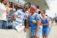 Bridgeview, IL - Sunday June 04, 2017: Fans, Samantha Johnson during a regular season National Women's Soccer League (NWSL) match between the Chicago Red Stars and the Seattle Reign FC at Toyota Park. The Red Stars won 1-0.