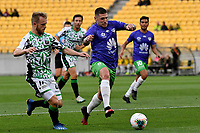 Gary Hooper of Wellington Phoenix struggles to keep the ball from Connor Pain of Western United FC during the A League - Wellington Phoenix v Western United FC at Sky Stadium, Wellington, New Zealand on Friday 21 February 2020. <br /> Photo by Masanori Udagawa. <br /> www.photowellington.photoshelter.com