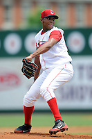 Lowell Spinners pitcher Mario Alcantara #28 during a game versus the Vermont Lake Monsters at LeLacheur Park In Lowell, Massachusetts on June 30, 2013. (Ken Babbitt/Four Seam Images)
