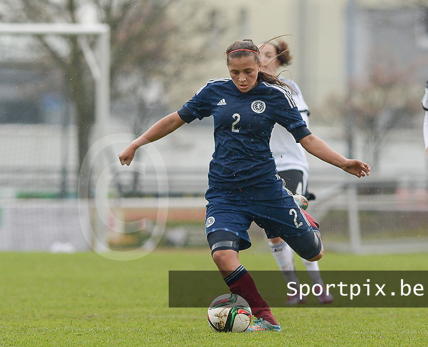 20150404 - FORST , GERMANY  : Scottish Abigail Harrison pictured  during the soccer match between Women Under 19 teams of Germany and Scotland , on the first matchday in group 5 of the UEFA Elite Round Women Under 19 at WaldseeStadion , Forst , Germany . Saturday 4th April 2015 . PHOTO DAVID CATRY