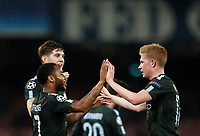 Football Soccer: UEFA Champions League Napoli vs Mabchester City San Paolo stadium Naples, Italy, November 1, 2017. <br /> Manchester City's Raheem Sterling (l) celebrates with his teammate Kevin De Bruyne (r) after scoring during the Uefa Champions League football soccer match between Napoli and Manchester City at San Paolo stadium, November 1, 2017.<br /> UPDATE IMAGES PRESS/Isabella Bonotto