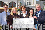 COFFEE MORNING: Members of Killarney Rotary Club presenting a cheque for EUR4,310, which they raised by having a coffee morning in Menton's Cafe, to the South West Counselling Centre in Killarney on Monday. Pictured l-r: Kurt Bos (Mentons Cafe), Ciara Irwin Foley, Kathleen O'Regan Sheppard, Geraldine Sheedy (South West Counselling Centre) and James Tarrant.   Copyright Kerry's Eye 2008
