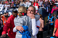 CHICAGO, IL - OCTOBER 6: Jill Ellis of the United States hugs Allie Long #20 during a game between Korea Republic and USWNT at Soldier Field on October 6, 2019 in Chicago, Illinois.