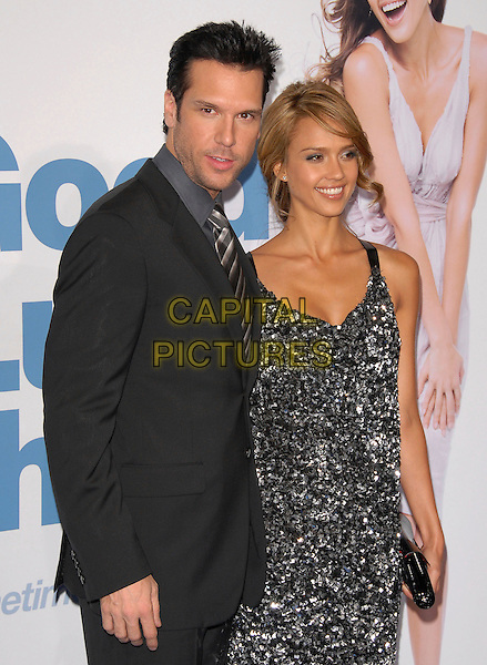"""DANE COOK & JESSICA ALBA.The Lionsgate L.A. Premiere of """"Good Luck Chuck"""" held at The Mann National Theatre in Westwood, California, USA..September 19th, 2007                  .half length black suit jacket grey gray silver sparkly dress .CAP/DVS.©Debbie VanStory/Capital Pictures"""