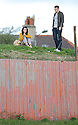 A TYPICAL ROMANTIC DATE IN COATBRIDGE.... THIS LUCKY GIRL IS TAKEN OUT TO WATCH THE FOOTIE FROM AN EMBANKMENT OVER LOOKING CLIFTONHILL