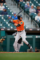 Norfolk Tides Jack Reinheimer (3) bats during an International League game against the Buffalo Bisons on June 21, 2019 at Sahlen Field in Buffalo, New York.  Buffalo defeated Norfolk 2-1, the first game of a doubleheader.  (Mike Janes/Four Seam Images)