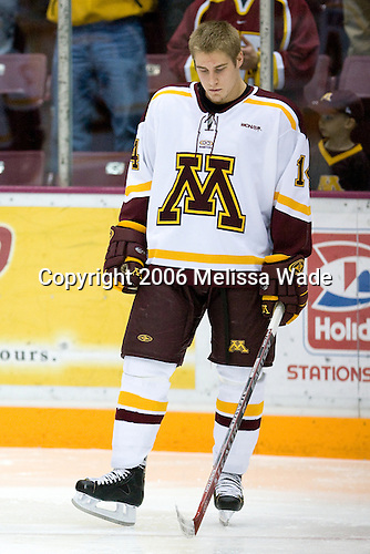 Justin Bostrom (University of Minnesota - Vadnais Heights, MN) lines up. The University of Minnesota Golden Gophers defeated the Michigan State University Spartans 5-4 on Friday, November 24, 2006 at Mariucci Arena in Minneapolis, Minnesota, as part of the College Hockey Showcase.
