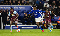 Leicester City's Wilfred Ndidi (centre) competing with Aston Villa's Mbwana Samatta (left) and  Marvelous Nakamba <br /> <br /> Photographer Andrew Kearns/CameraSport<br /> <br /> The Premier League - Leicester City v Aston Villa - Monday 9th March 2020 - King Power Stadium - Leicester<br /> <br /> World Copyright © 2020 CameraSport. All rights reserved. 43 Linden Ave. Countesthorpe. Leicester. England. LE8 5PG - Tel: +44 (0) 116 277 4147 - admin@camerasport.com - www.camerasport.com