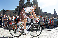 Rinaldo Nocentini passes by the front of the Obradoiro of the Cathedral of Santiago de Compostela before the stage of La Vuelta 2012 between Santiago de Compostela and Ferrol.August 31,2012. (ALTERPHOTOS/Acero)