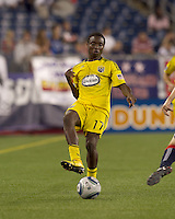 Columbus Crew midfielder Emmanuel Ekpo (17) passes the ball. The New England Revolution tied Columbus Crew, 2-2, at Gillette Stadium on September 25, 2010.