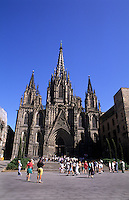 Life in Spain the famous Le Cathedral built in 1450  in Barcelona Spain