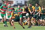 Simon Marcel spreads the ball wide during the Counties Manukau Premier Club rugby game between Pukekohe and Waiuku, played at Colin Lawrie Fields, Pukekohe on Saturday April 14th, 2018. Pukekohe won the game 35 - 19 after leading 9 - 7 at halftime.<br /> Pukekohe Mitre 10 Mega -Joshua Baverstock, Sione Fifita 3 tries, Cody White 3 conversions, Cody White 3 penalties.<br /> Waiuku Brian James Contracting - Lemeki Tulele, Nathan Millar, Tevta Halafihi tries,  Christian Walker 2 conversions.<br /> Photo by Richard Spranger