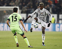 Calcio, Champions League: Gruppo D - Juventus vs Manchester City. Torino, Juventus Stadium, 25 novembre 2015. <br /> Juventus&rsquo; Paul Pogba, right, is challenged by Manchester City's Jesus Navas during the Group D Champions League football match between Juventus and Manchester City at Turin's Juventus Stadium, 25 November 2015. <br /> UPDATE IMAGES PRESS/Isabella Bonotto