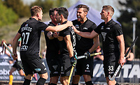 Blacksticks players celebrate the Kane Russell goal during the Olympic Qualifying Hockey match between the Blacksticks Men and Korea, TET Multisport Centre, Stratford, New Zealand. Sunday 3 November 2019. Photo: Simon Watts/www.bwmedia.co.nz/HockeyNZ
