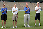 28 August 2009: Duke coaches. From left: Carla Overbeck, Billy Lesesne, Robbie Church, Michael Crane. The Duke University Blue Devils lost 1-0 to the University of North Carolina Greensboro Spartans at Fetzer Field in Chapel Hill, North Carolina in an NCAA Division I Women's college soccer game.