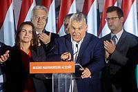 UNGARN, 13.10.2019, Budapest - IX. Bezirk. Wahlparty der Regierungspartei Fidesz bei den Kommunalwahlen, die einen Sieg der Opposition bringen: V.l.n.r.: Familien-Staatssekretaerin Katalin Novák, Vize-MP Zsolt Semjén, MP Viktor Orbán, Gergely Gulyás. | The governing Fidesz party's election night at the municipal elections which brought an oppositional victory: From left to right: Katalin Novak, Vice-PM Zsolt Semjen, PM Viktor Orban, Gergely Gulyas.<br /> ©  Szilard Vörös/EST&OST