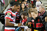 David Raikuna signs auotgraphs for fans after the game. ITM Cup rugby game between Counties Manukau and Manawatu played at Bayer Growers Stadium on Saturday August 21st 2010..Counties Manukau won 35 - 14 after leading 14 - 7 at halftime.