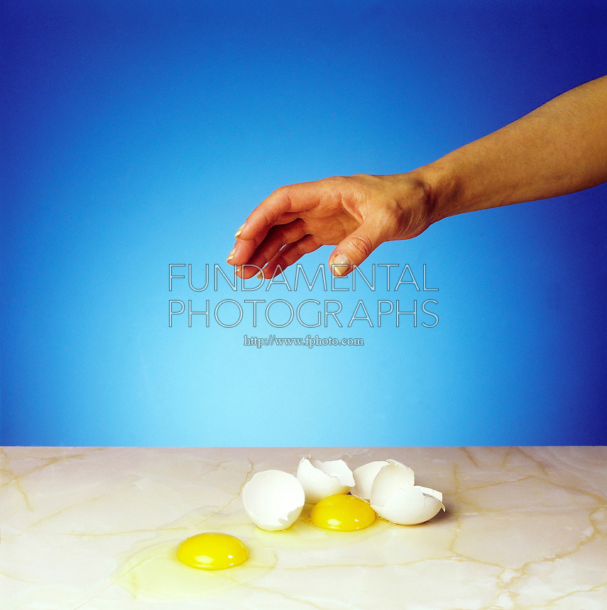 ENTROPY: DROPPED EGGS (SPONTANEOUS PROCESS)<br /> State of Disorder or High Entropy: 2 of 2<br /> (Variations Available)<br /> According to the second law of thermodynamics, the only changes that are possible for an isolated system are those in which the entropy of the system either increases or remains the same. The cracked eggshells will not pull  back together.