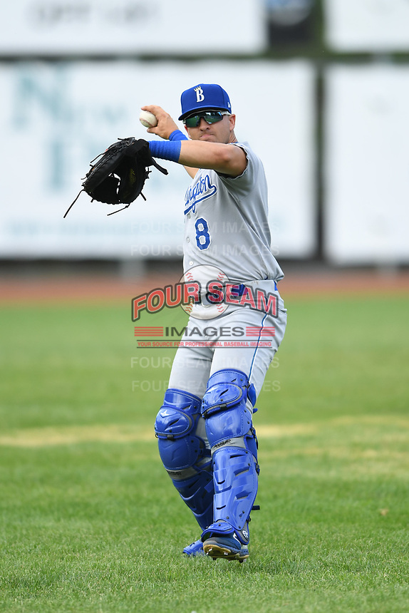 Burlington Royals catcher Logan Porter (8) warms up prior to a game with the Bristol Pirates at Boyce Cox Field on June 19, 2019 in Bristol, Virginia. The Royals defeated the Pirates 1-0. (Tracy Proffitt/Four Seam Images)