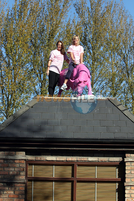 Bairbre Kelly and Nicola Connolly-Byrne with the pink Bull at the Black Bull to promote their Pink Bling, Girls Night Out in the Black Bull in aid of the Irish Cancer Society ..(Photo credit should read Jenny Matthews/NEWSFILE)...