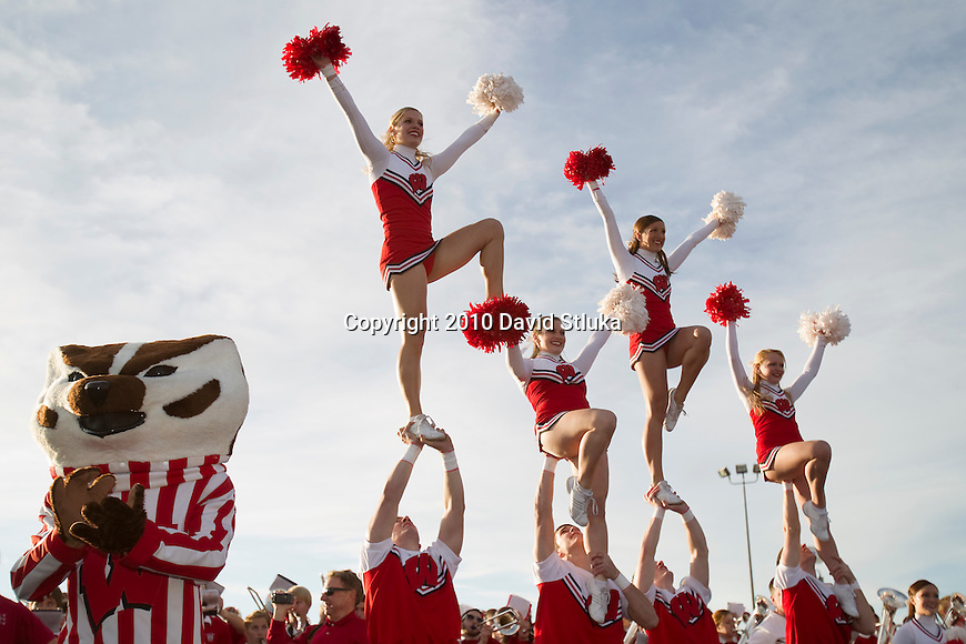 Mascot Bucky Badger and the Wisconsin Badgers cheerleaders perform for an estimated crowd of 25,000 Wisconsin Badgers fans during the Party at the Pier pep rally for the Wisconsin Badgers football team at the Santa Monica Pier in Santa Monica on December 30, 2010. (Photo by David Stluka)