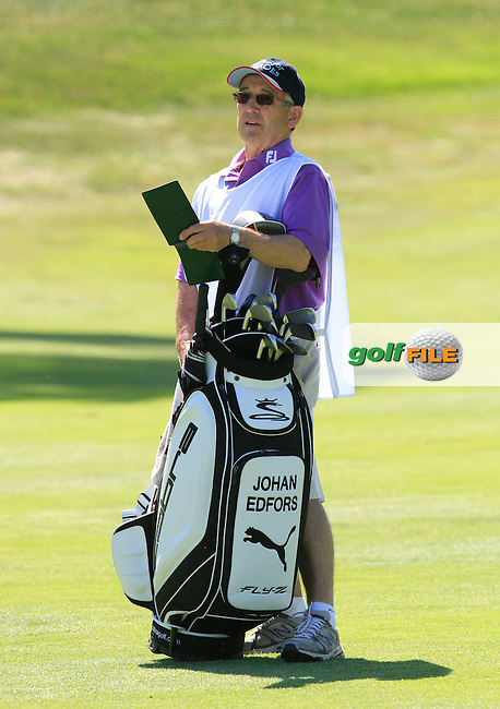 John (Ronnie) Roberts caddy for Johan Edfors (SWE) on the 2nd during Round 2 of the Open de Espana  in Club de Golf el Prat, Barcelona on Friday 15th May 2015.<br /> Picture:  Thos Caffrey / www.golffile.ie