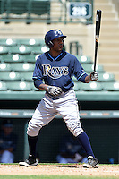 Tampa Bay Rays third baseman Bralin Jackson (44) during an Instructional League game against the Baltimore Orioles on September 15, 2014 at Ed Smith Stadium in Sarasota, Florida.  (Mike Janes/Four Seam Images)
