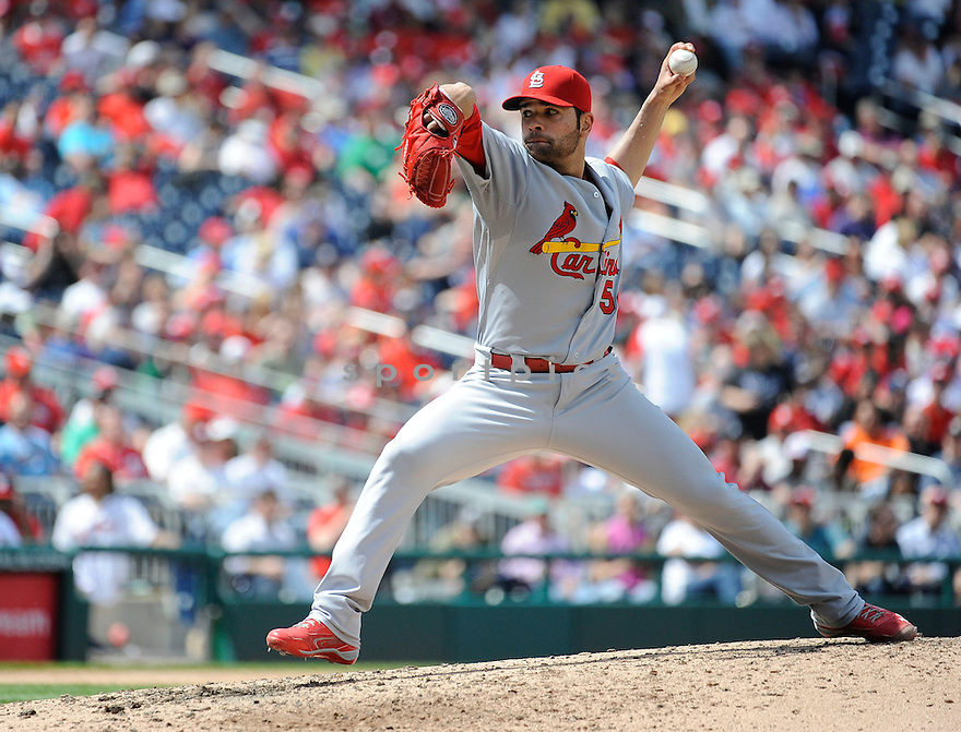 St. Louis Cardinals Jaime Garcia (54) during a game against the Washington Nationals on April 24, 2013 at Nationals Park in Washington DC. The Cardinals beat the Nationals 4-2.