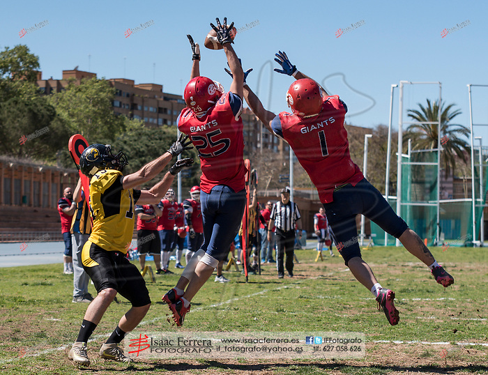 LNFA Serie A.<br /> Valencia Firebats - Valencia Giants.<br /> Estadio del Turia.<br /> Valencia, Valencia (Spain).<br /> 2 de abril de 2017.