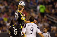 Columbus Crew defender Chad Marshall goes high for a head ball. The LA Galaxy defeated the Columbus Crew 3-1 at Home Depot Center stadium in Carson, California on Saturday Sept 11, 2010.