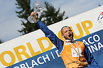 Italian Eugenio Bianchi <br /> FIS Rollerski World Cup 2013 at Dobbiaco, Toblach, Italy.<br /> <br /> Poursuit race and overall podium<br /> <br /> photo: &copy; PierreTeyssot.com