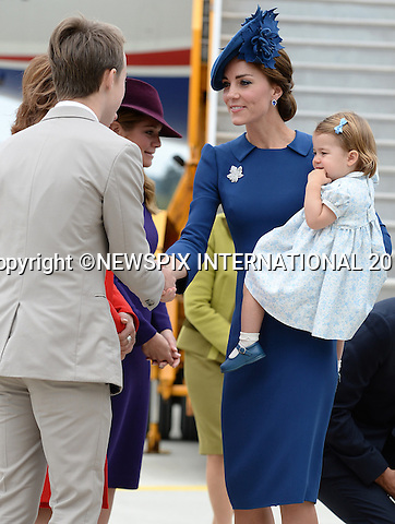 &quot;UK - 28 Days Out&quot;<br /> <br /> 24.09.2016; Victoria, Canada: SHADES OF BLUE - DUKE &amp; DUCHESS OF CAMBRIDGE, PRINCE GEORGE AND PRINCESS CHARLOTTE<br /> arrive on a RCAF aircraft at the start of their tour of Canada at Victoria Airport.<br /> Kate Middleton chose a Jenny Packam outfit with a matching blue hat from Lock &amp; Co.<br /> Princess Charlotte, Prince George and Prince William wore oufits in shades of blue.<br /> The tour will take Royals to parts of both British Columbia and the Yukon.<br /> Mandatory Photo Credit: &copy;NEWSPIX INTERNATIONAL<br /> <br /> IMMEDIATE CONFIRMATION OF USAGE REQUIRED:<br /> Newspix International, 31 Chinnery Hill, Bishop's Stortford, ENGLAND CM23 3PS<br /> Tel:+441279 324672  ; Fax: +441279656877<br /> Mobile:  07775681153<br /> e-mail: info@newspixinternational.co.uk<br /> Usage Implies Acceptance of OUr Terms &amp; Conditions<br /> Please refer to usage terms. All Fees Payable To Newspix International