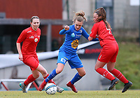 20191221 - WOLUWE: Gent's Alixe Bosteels (left in blue) with the ball and Woluwe's Anouck Cochez (right) (4) defends during the Belgian Women's National Division 1 match between FC Femina WS Woluwe A and KAA Gent B on 21st December 2019 at State Fallon, Woluwe, Belgium. PHOTO: SPORTPIX.BE | SEVIL OKTEM