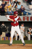 Justin Smoak (12) of the South Carolina Gamecocks at bat versus the East Carolina Pirates at Sarge Frye Field in Columbia, SC, Sunday, February 24, 2008.