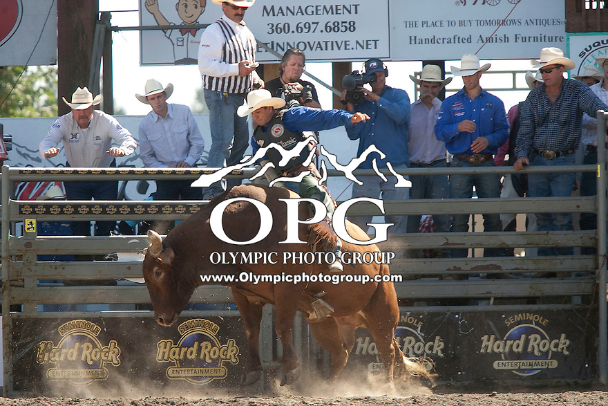 28 Aug 2011:  Myron Duarte was not able to score while riding the bull Red Hot Mercy in the Seminole Hard Rock Extreme Bulls competition  held at the Kitsap County Fair and Stampede Rodeo in Bremerton, Washington.