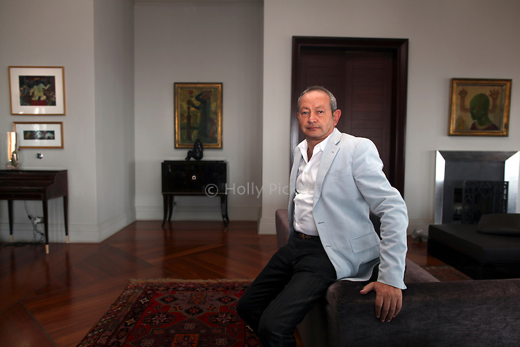 Egyptian billionaire and art collector Naguib Sawiris in his living room in Nile City Towers, Cairo, Egypt, Sept. 18, 2011. Sawiris, Chairman and CEO of Orascom Telecom, started a political party called the Free Egyptians and has thrown himself into politics in the wake of the uprising that toppled the regime of Hosni Mubarak.