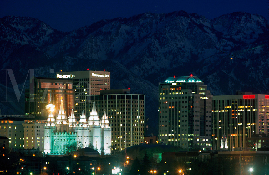 The Salt Lake City at night. Utah.