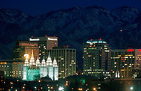 The Salt Lake City at night. Utah.