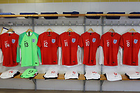 England shirts on display in the dressing room  ahead of the players arrival during Guatemala Under-23 vs England Under-20, Tournoi Maurice Revello Football at Stade Marcel Cerdan on 11th June 2019