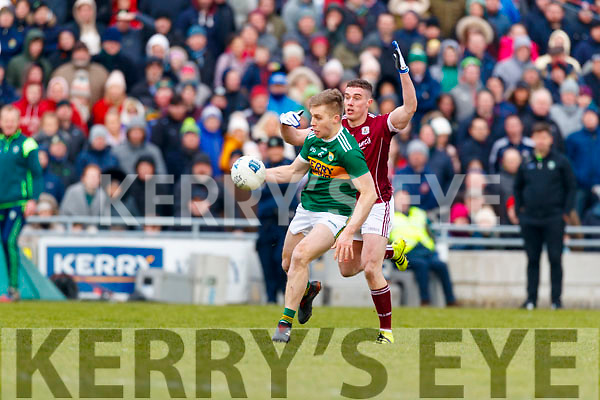 Peter Crowley Kerry in action against Eamonn Brannigan Galway in the Allianz Football League Division 1 Round 4 match between Kerry and Galway at Austin Stack Park, Tralee, Co. Kerry.