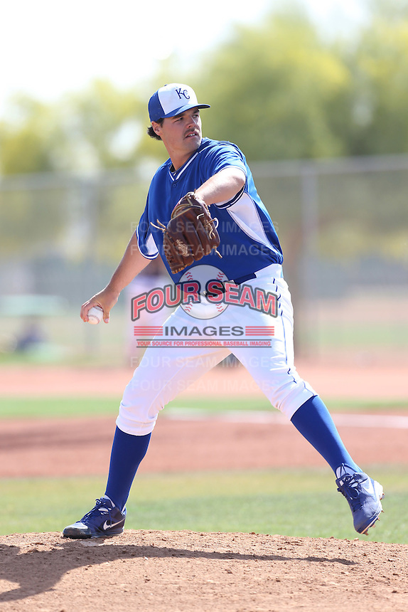 Matt Murray #18 of the Kansas City Royals pitches during a Minor League Spring Training Game against the San Diego Padres at the Kansas City Royals Spring Training Complex on March 26, 2014 in Surprise, Arizona. (Larry Goren/Four Seam Images)