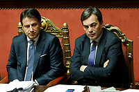 Giuseppe Conte and Vincenzo Amendola Minister of European Affairs<br /> Rome December 12th 2019. Speech of the Italian Premier about MES, European Stability Mechanism.<br /> Foto Samantha Zucchi Insidefoto